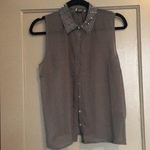 Tops - Sheer shirt with spike collar